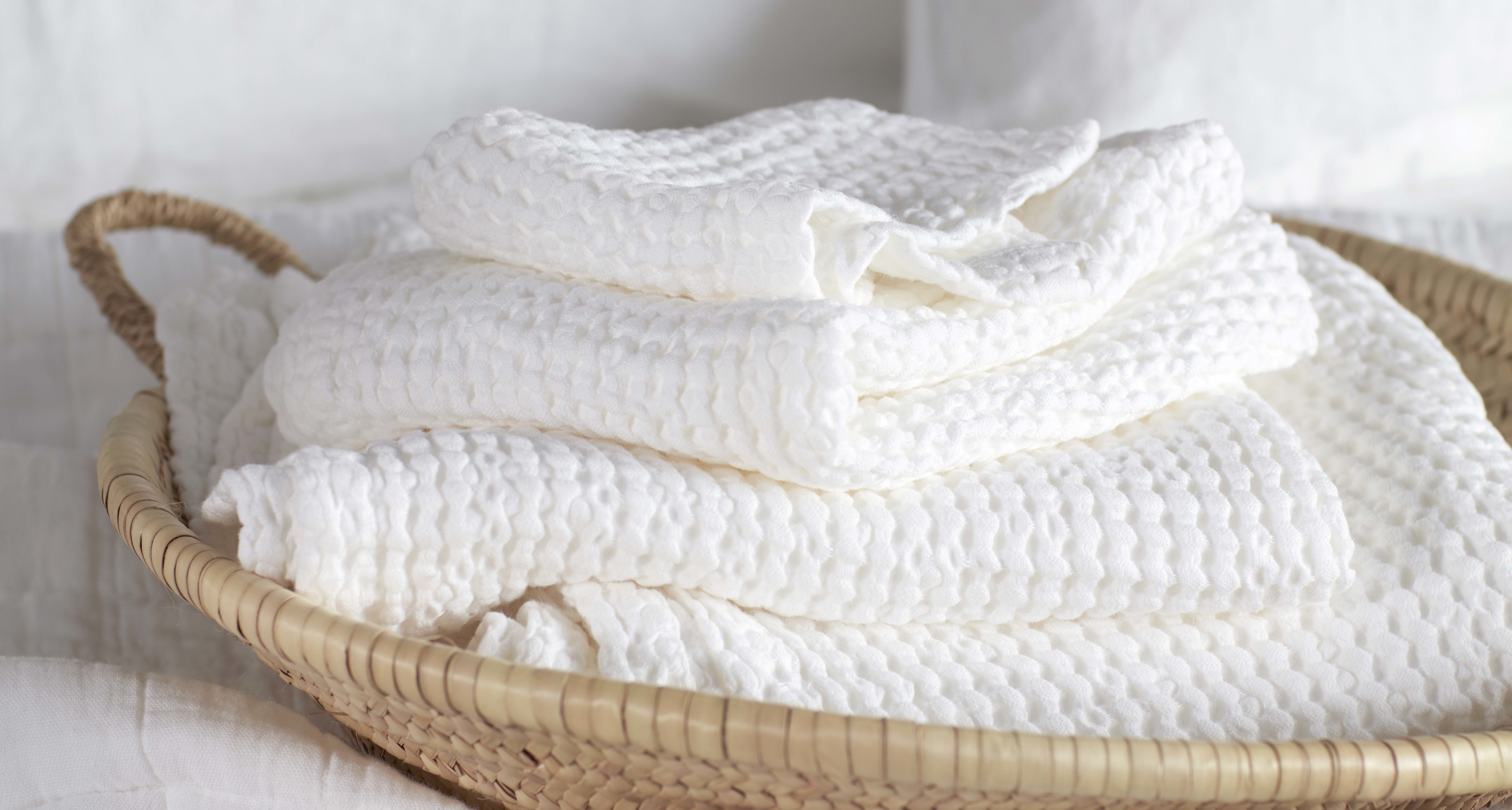 White Lightweight Waffle Towels