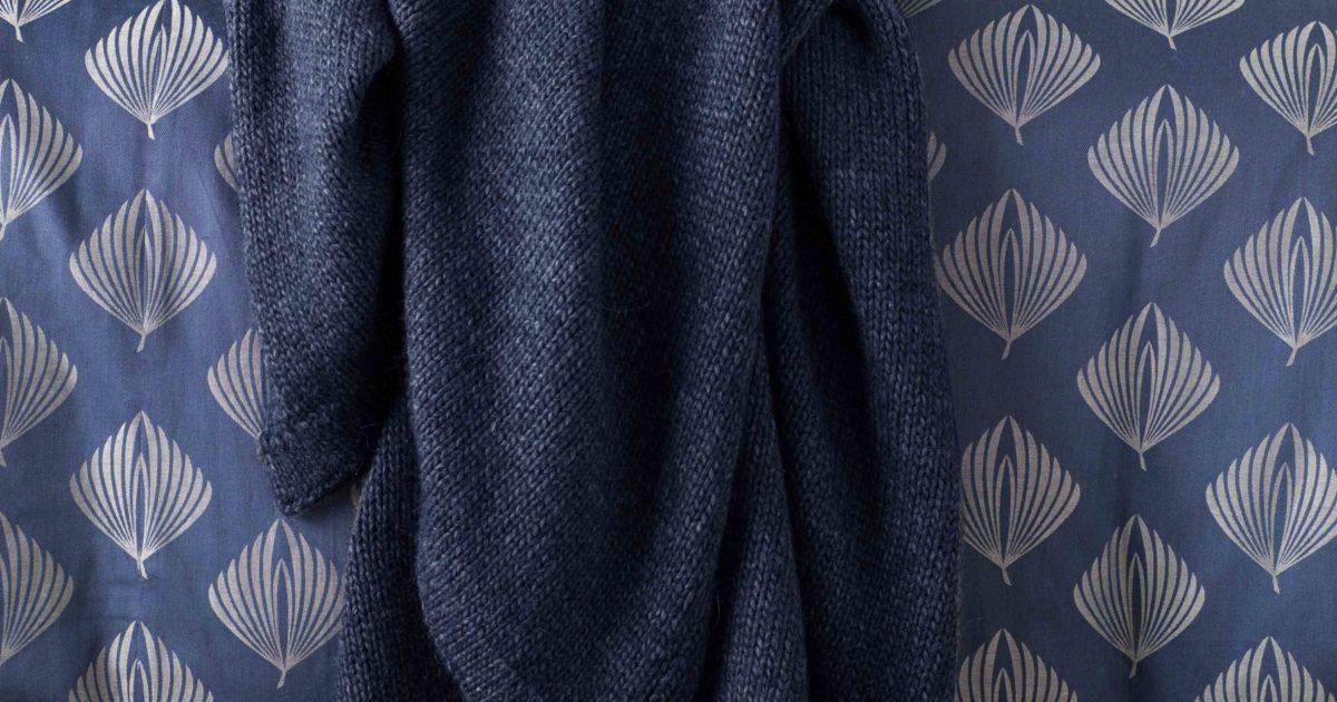 Knitted Blue Marl Bed Throw Secret Linen Store