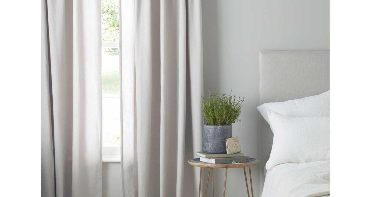 Grey Loop Top Curtains Pair 100 Cotton Secret Linen