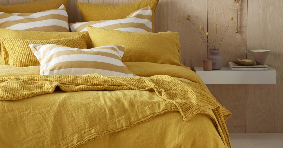 Mustard Yellow 100 Linen Bedding Secret Linen Store