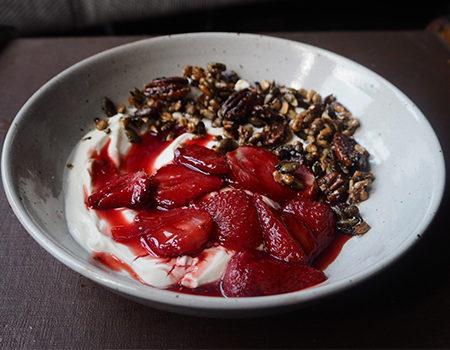 Lemon Roasted Strawberries with Seeds and Greek Yoghurt