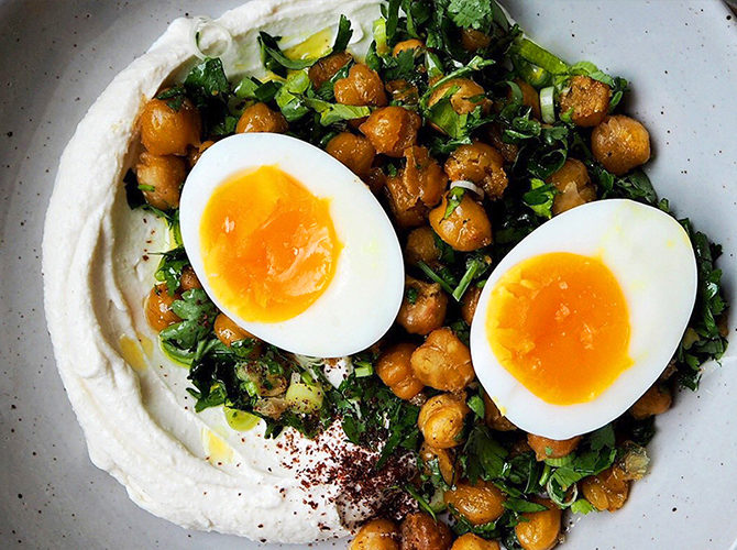 Jammy Eggs with Herby Roast Chickpeas and Tahini Yogurt