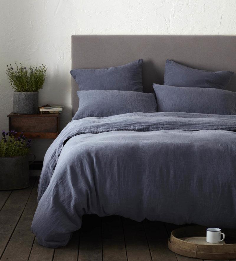 French Blue Linen Duvet Cover French Flax Secret Linen
