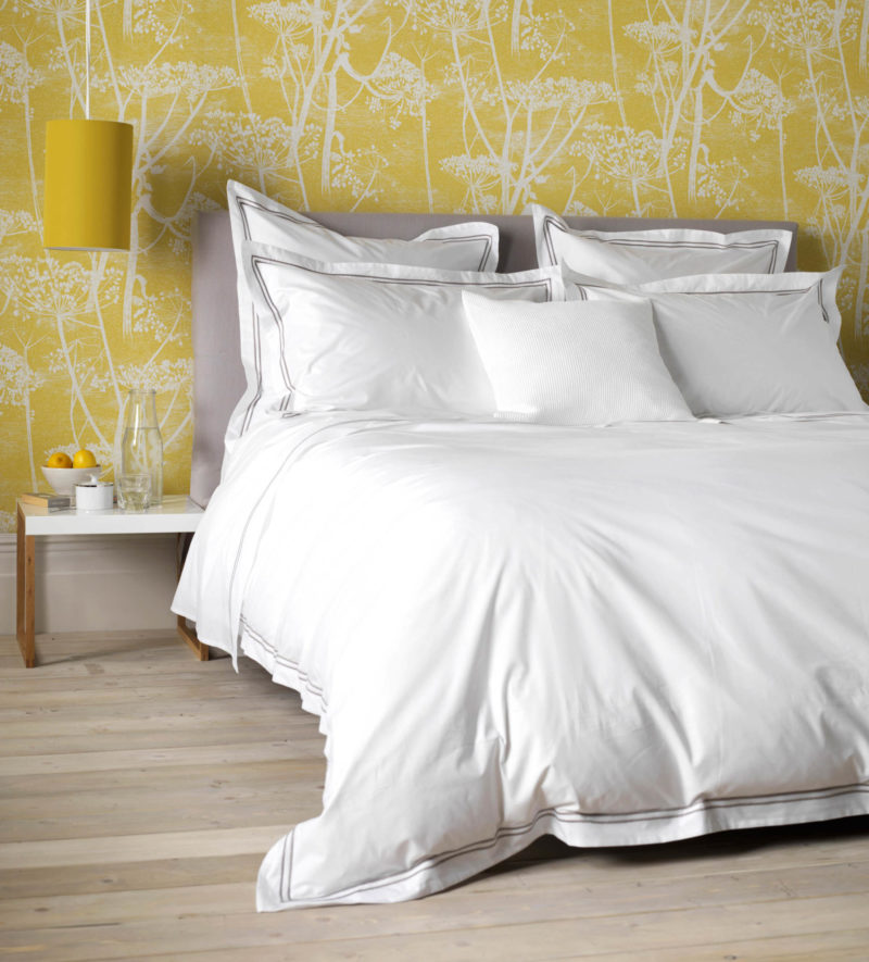 White 400 Thread Count Duvet Cover Grey Cord Detailing