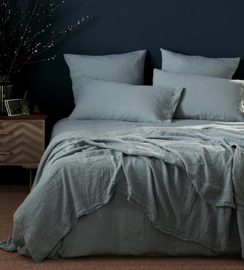 Teal 100 Linen Duvet Cover Natural Bedding Secret