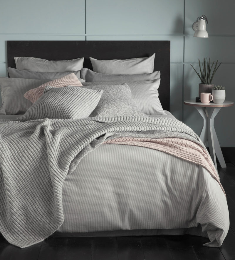 Tiny Stripe Graphite Grey Bed Linen Secret Linen Store