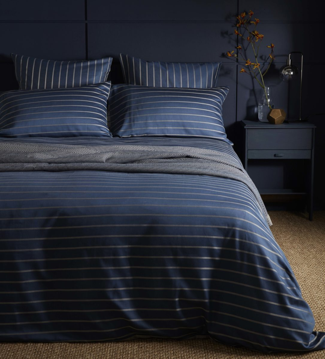 Breton Stripe Midnight Blue Duvet Cover Secret Linen Store