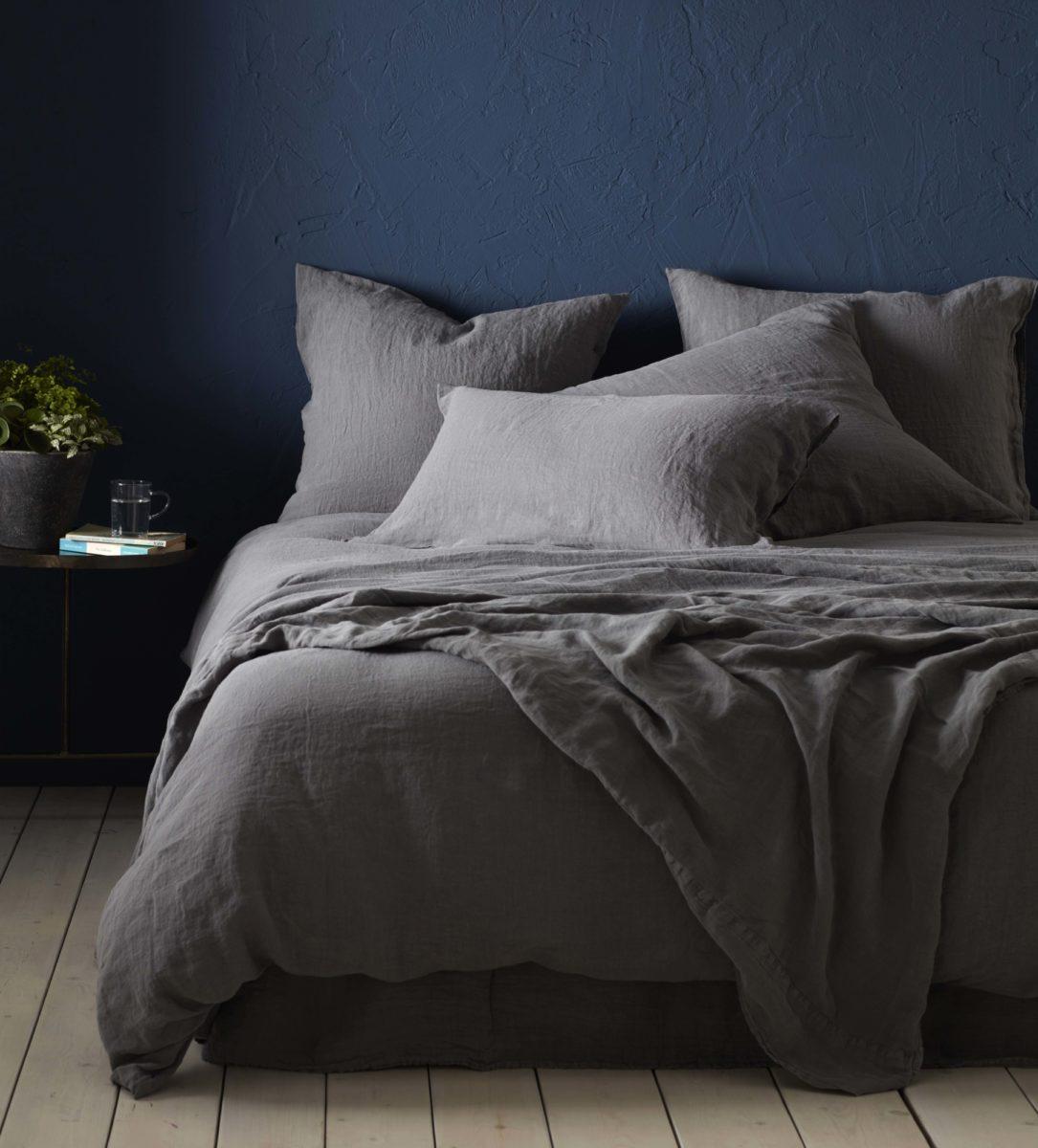 Charcoal 100% Linen Duvet Cover