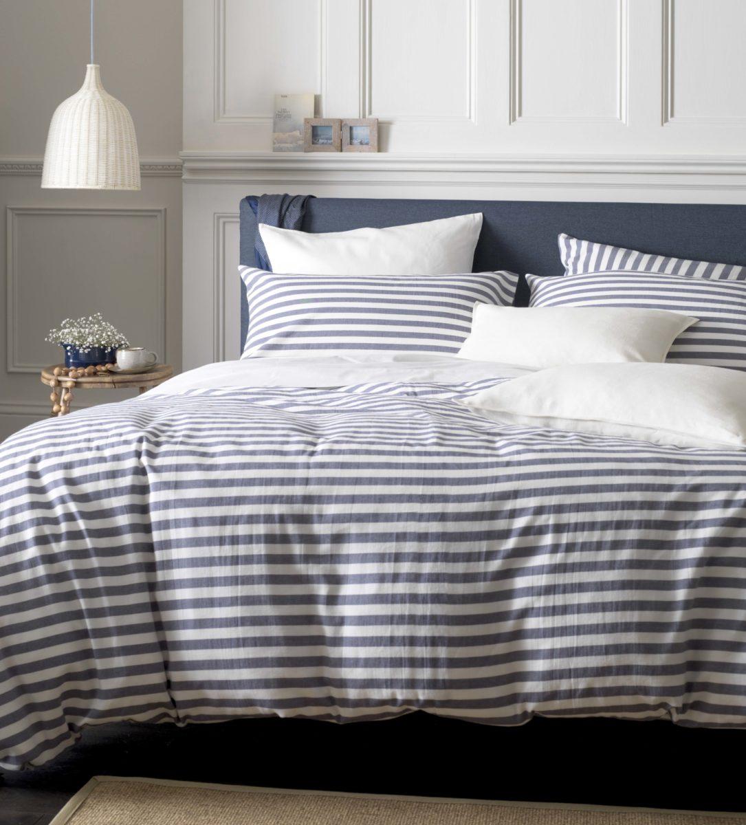 Navy Stripe Bed Set