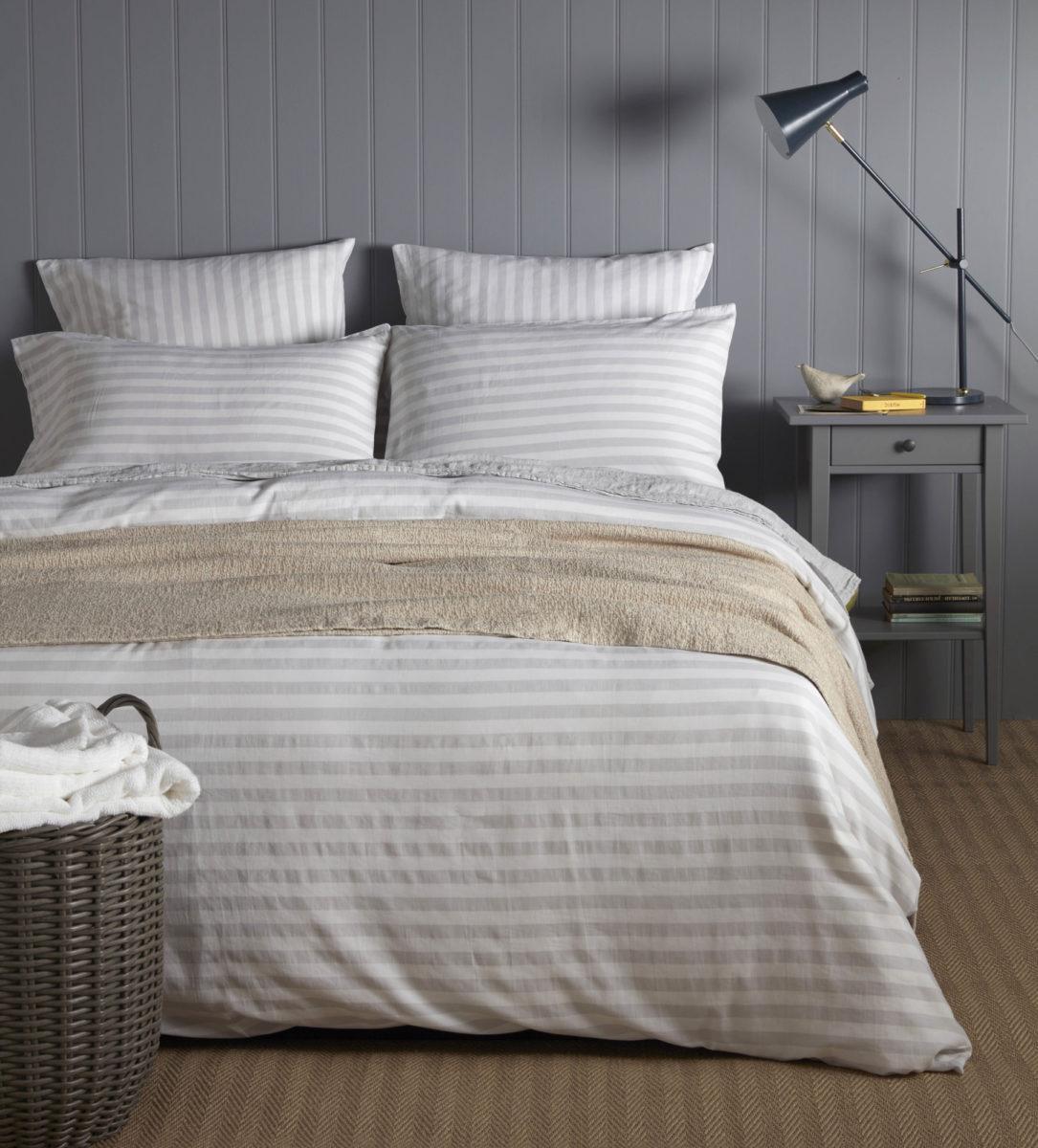 fdba3d3a3f Coastal Stripe 100% Cotton Pebble Grey Bedding | Secret Linen Store