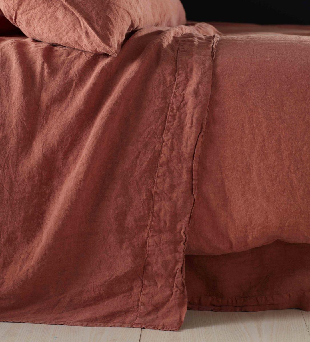 Spice 100 Linen Flat Sheet Natural Bedding Secret Linen Store