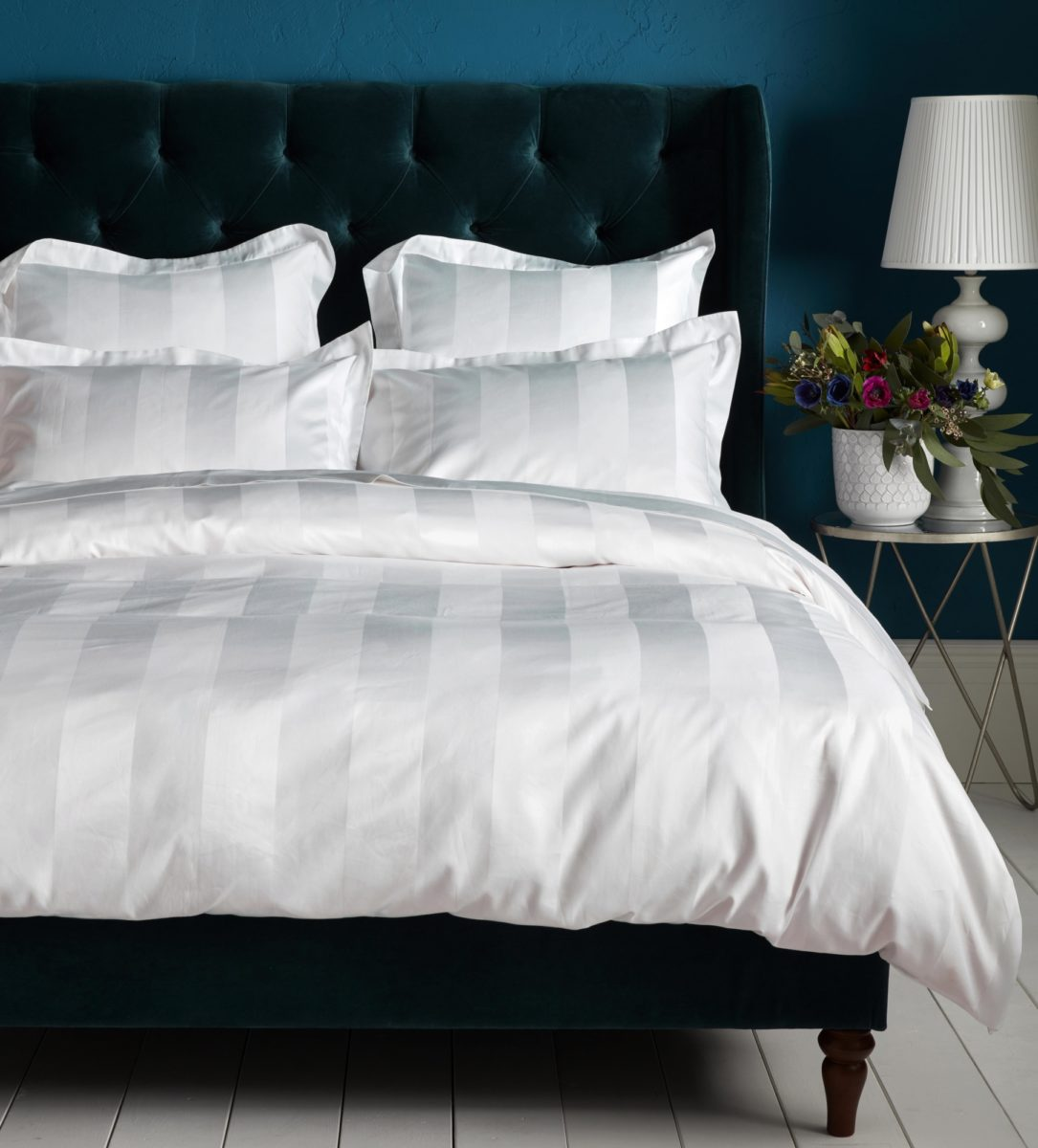 Luxury 600 Thread Count White Stripe Duvet Cover Egyptian Cotton