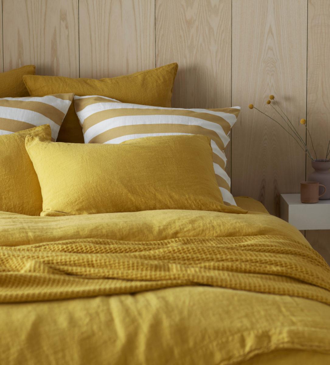 Mustard 100% Linen Pillowcase | Natural
