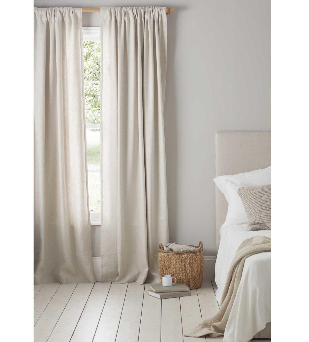 Natural Linen Loop Top Curtains Pair 50 Linen 50 Cotton