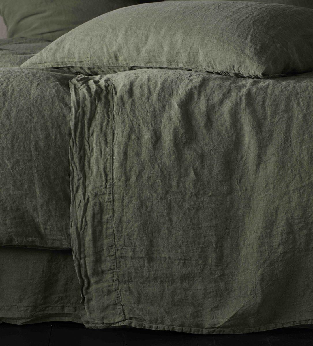 Olive Green 100 Linen Bed Sheets Secret Linen Store