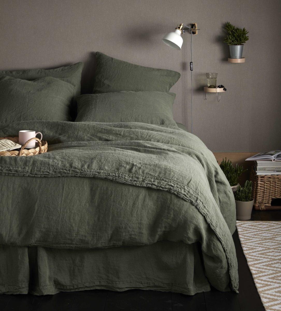 Olive Green 100 Linen Bed