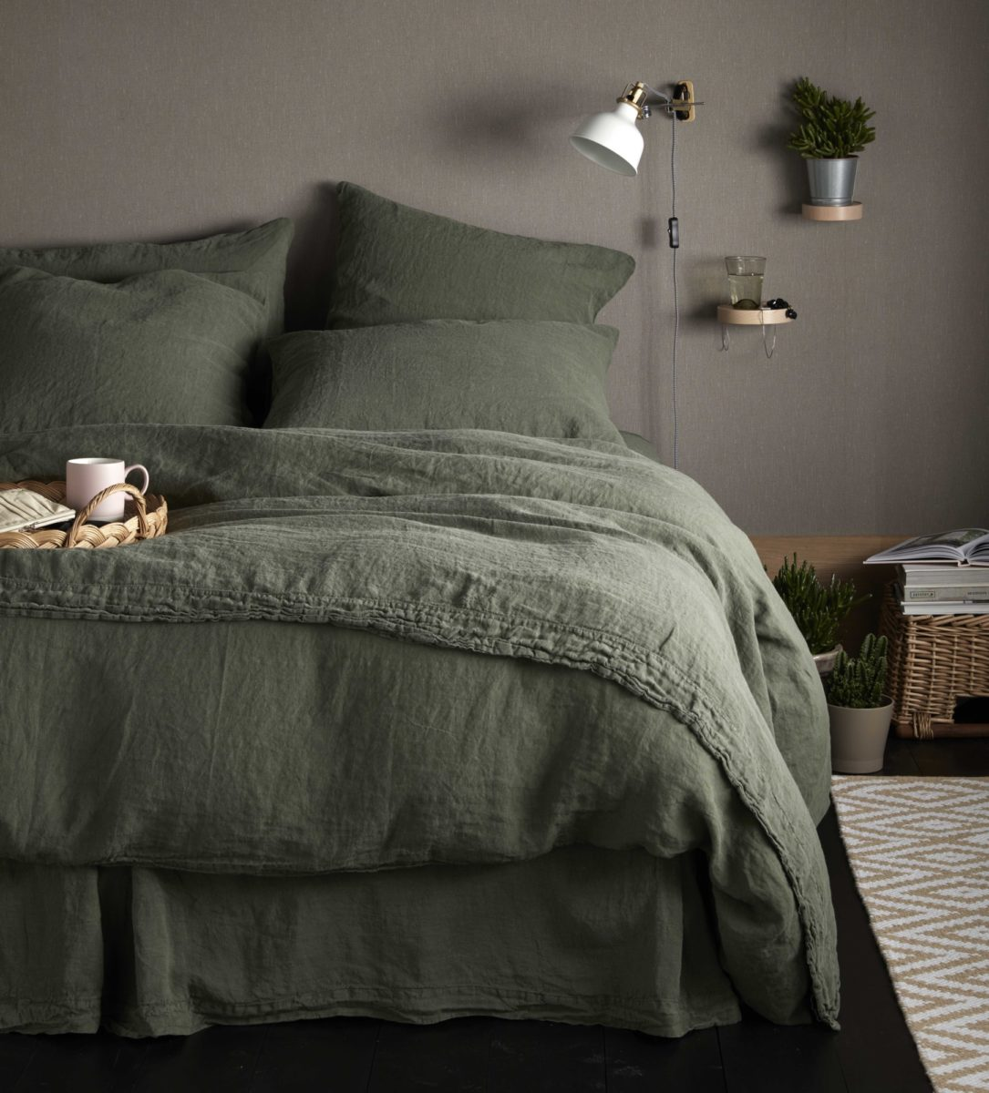 Olive Green 100 Linen Duvet Cover Secret Linen Store