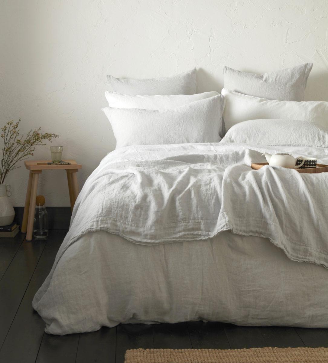 Pebble Grey 100% Linen Bed Linen - Pebble Grey 100% Linen Bed Linen