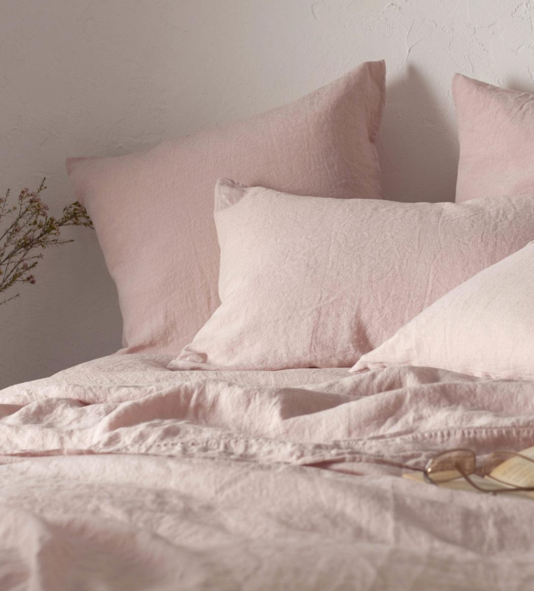 blush pink linen pillowcases | secret linen store