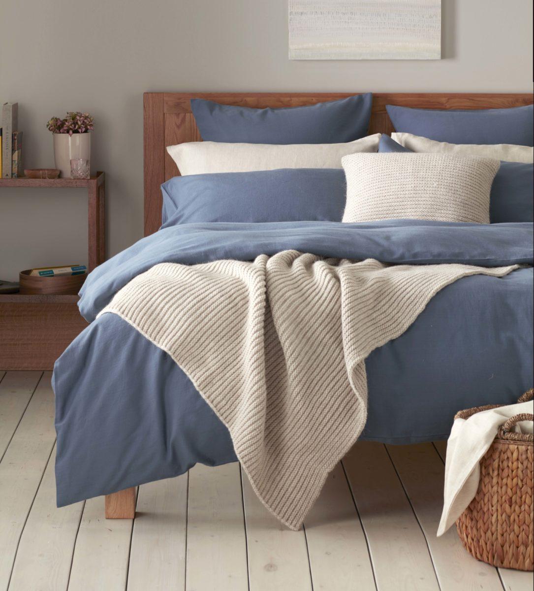 Relaxed denim slate blue bed linen secret linen store