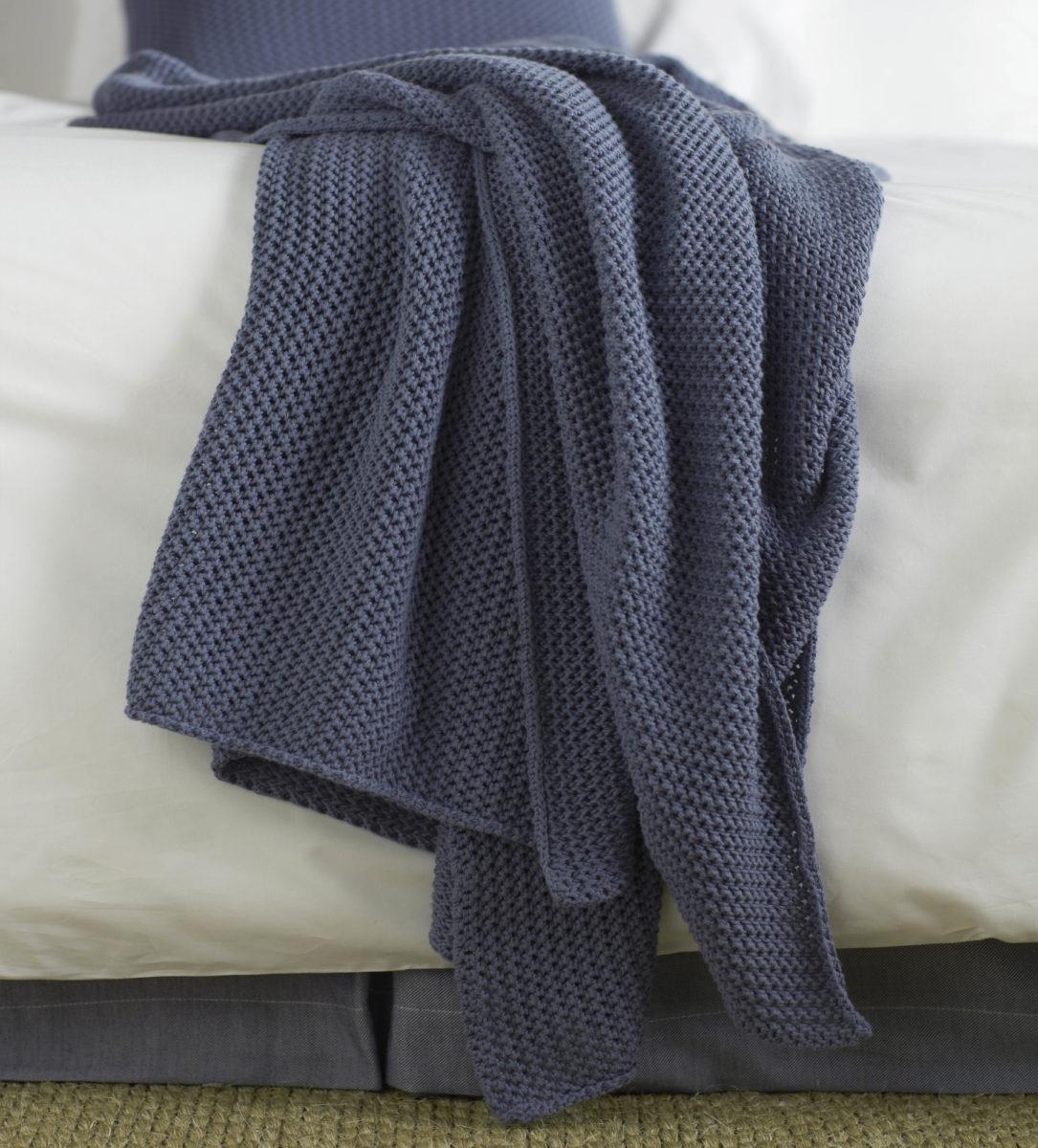 Knitted Blue Cotton Throw Secret