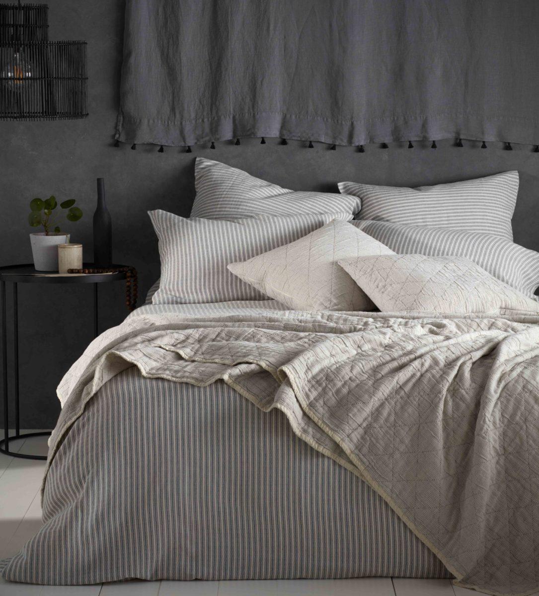 Ticking Stripe Grey Bed Linen - Ticking Stripe Grey Bed Linen