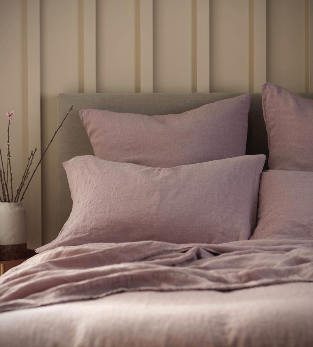 Vintage Rose Pink 100% Linen Pillowcase | Secret Linen Store