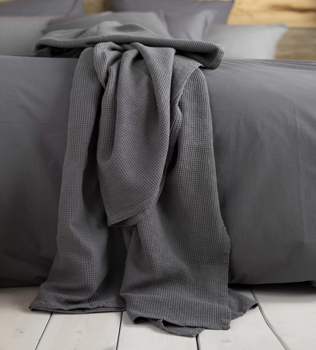 Charcoal Grey Waffle Cushion and Throws | Secret Linen Store