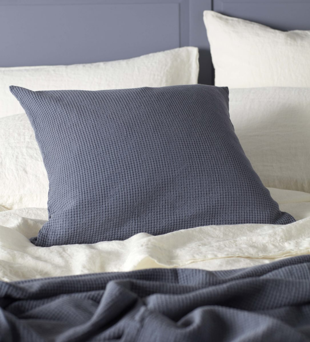 Waffle French Blue Cusion And Throw Secret Linen Store