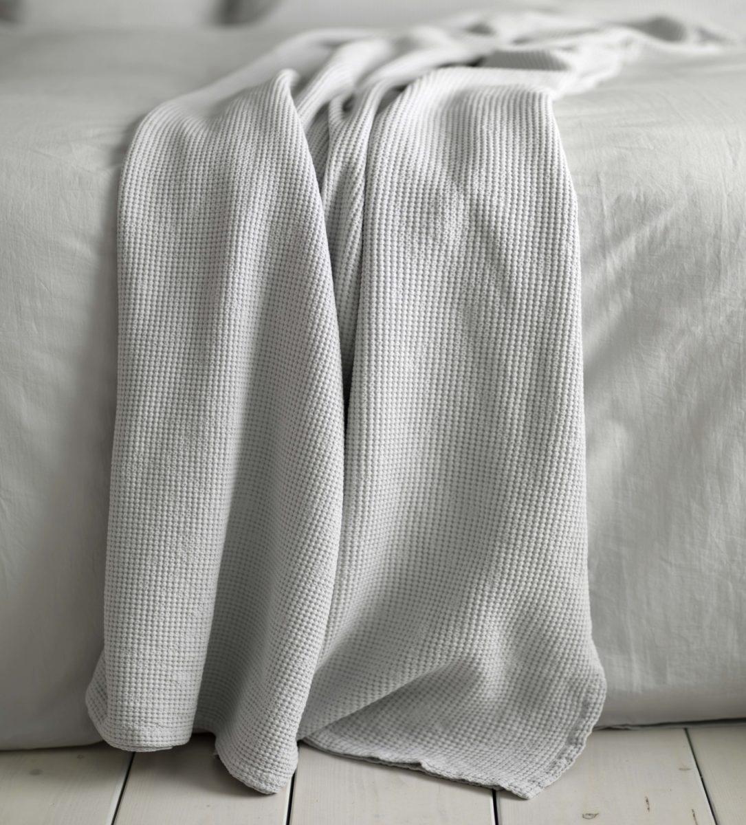 Waffle Light Grey Throw - 100% Cotton | Secret Linen Store