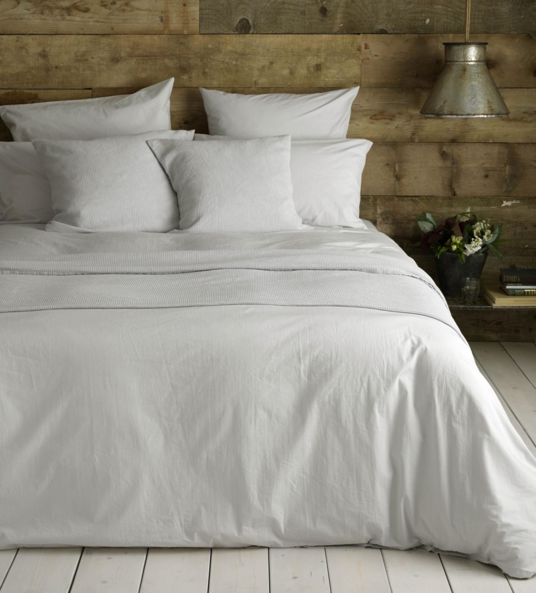 Washed Cotton Percale Light Grey Duvet Cover