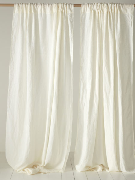 Cream 100% Linen Loop Top Curtain (Single)