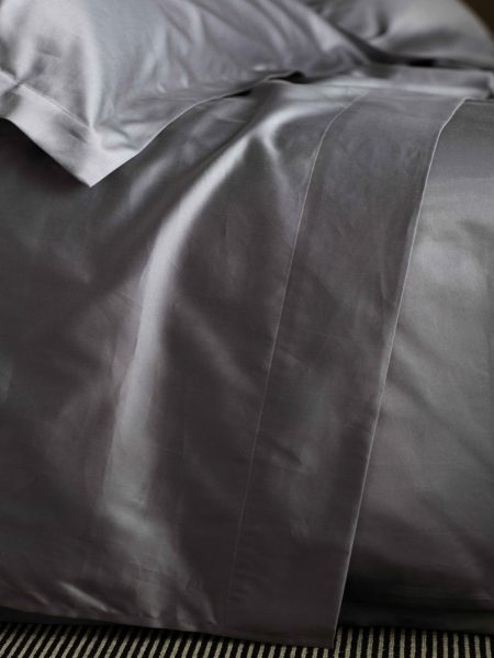 600 Thread Count Charcoal Grey Luxury Flat Sheet