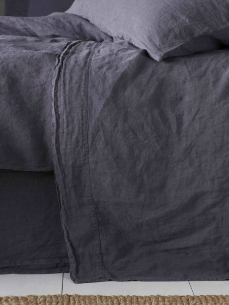 Aubergine Purple 100% Linen Flat Sheet