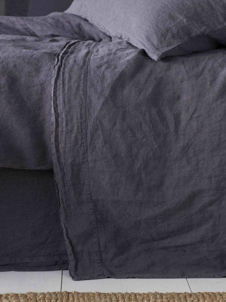 Aubergine Purple 100% Linen Flat Sheet