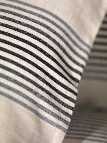 Black & Natural Linen Stripe Duvet Cover