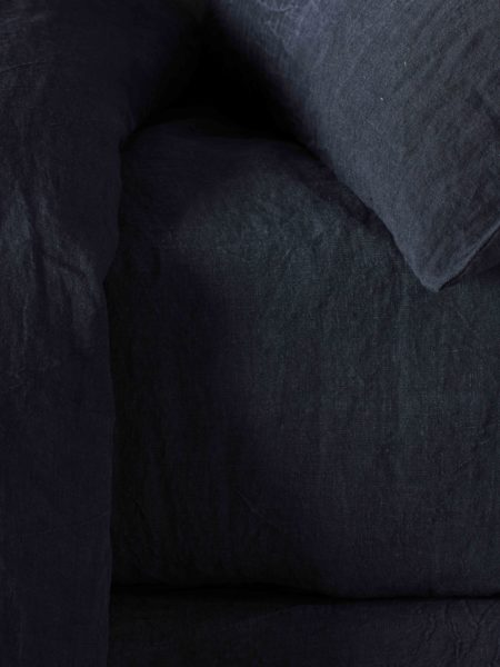 Black 100% Linen Fitted Sheet
