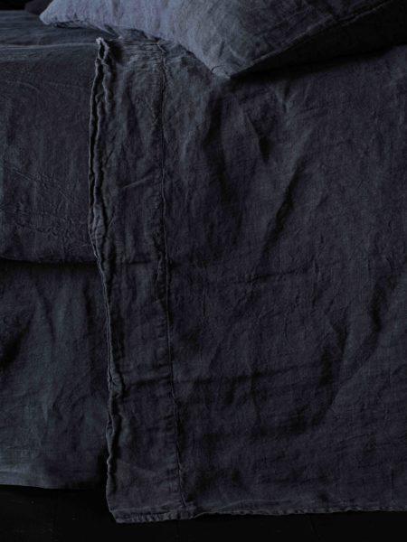 Black 100% Linen Flat Sheet