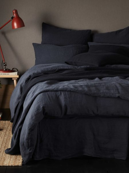 Black 100% Linen Duvet Cover