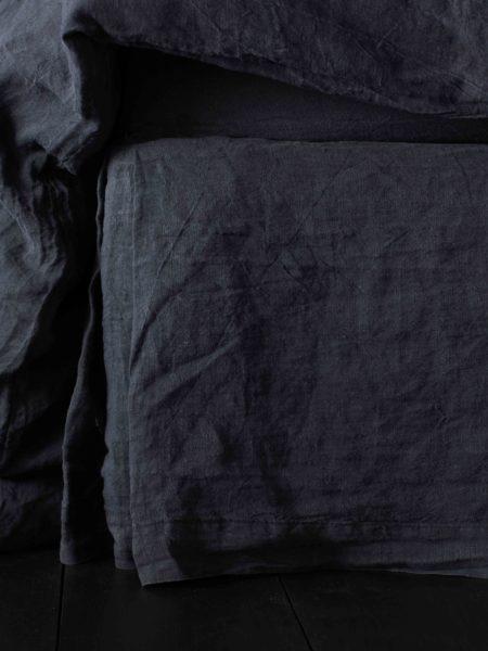 Black 100% Linen Valance