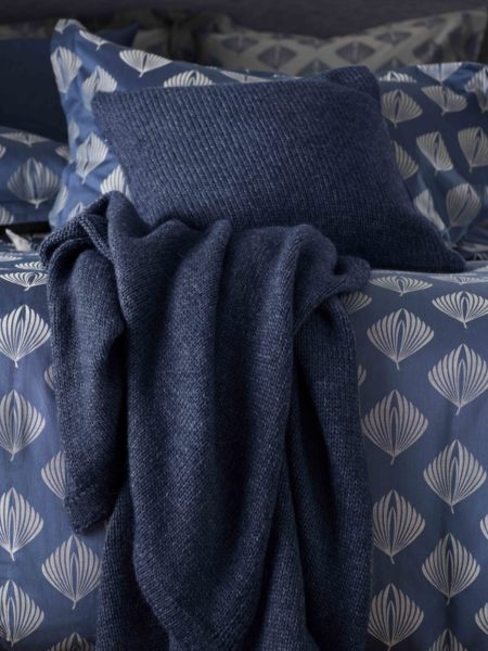 Knitted Blue Marl Bed Throw and Cushion Cover