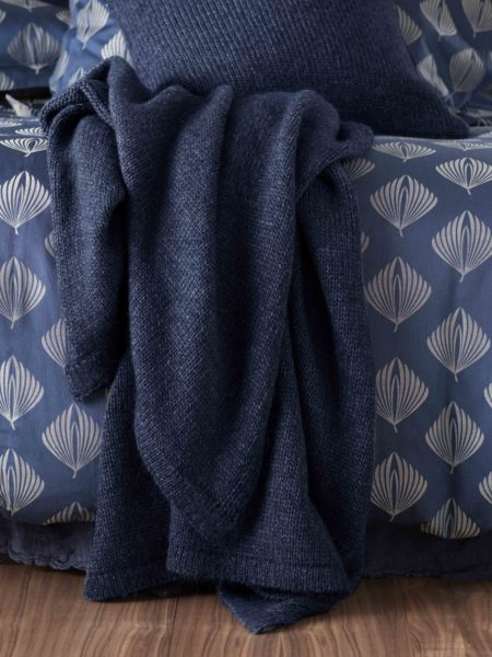 Knitted Blue Marl Bed Throw