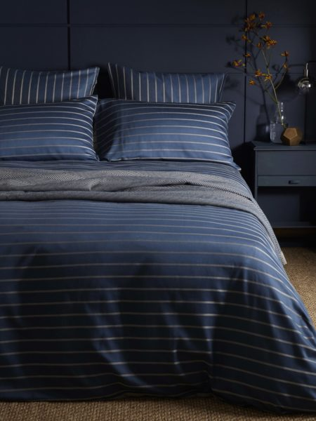 Breton Stripe Midnight Blue Duvet Cover