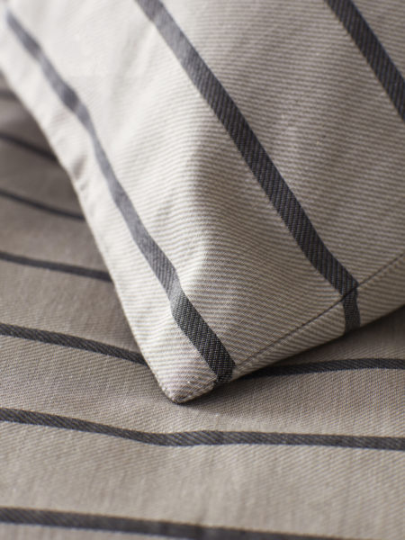 Breton Stripe Pewter Grey Pillowcase