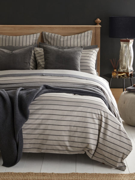 Breton Stripe Pewter Grey Bed Linen
