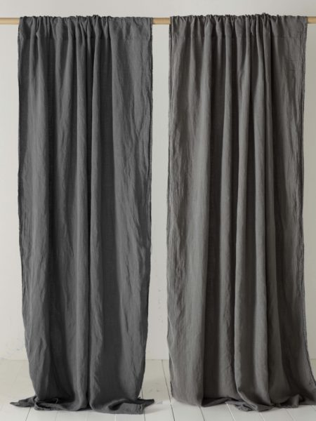 Charcoal Grey 100% Linen Loop Top Curtain (Single)