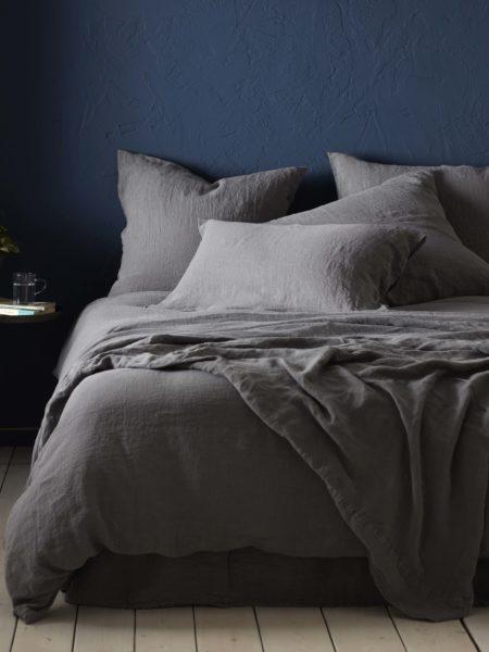 Charcoal 100% Linen Bed Linen