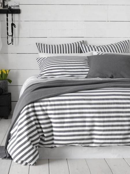 Coastal Stripe Charcoal Bed Linen