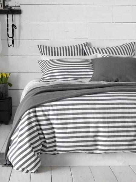 Coastal Stripe Charcoal Bed Linen