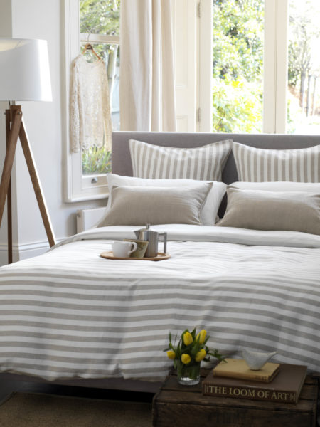 Coastal Stripe Natural Linen Bed Linen